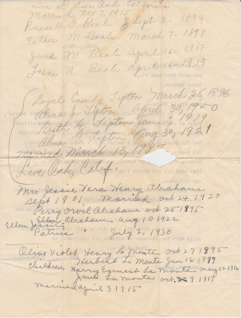 Reverse Of Letter To Olive Violet, 1934